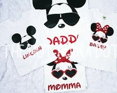 4 Pack Family Shirts - Cool Minnie and Cool Mickey Disney World Vacation Family Matching Shirts - Mom Dad Sister Brother Family Shirts