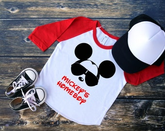 Personalized Cool Mickey Mouse Toddler Boys Red Sleeve Raglan Baseball Tee, Mickey with Sunglasses Raglan with NAME in Red Boy Disney Shirts