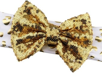 White and Gold Sequin Big Messy Bow Headbands - Animal Print BWhite Gold Headbands to Match Shirts and Outfits Fits Baby Girls and Toddlers