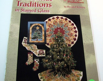 CHRISTMAS TRADITIONS in Stained Glass Applique - Quilting booklet Pattern book - Home decor  - sewing pattern - quilting pattern -