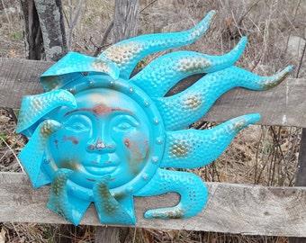 Turquoise Garden Decor, Garden Decor, Metal Sun, Sun Wall Art, Outdoor Wall Art, Metal Sun Decor, Wall Art, Garden Wall Hanging, Wall Decor