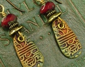 Artisan earring #21..Bronze, red cz glass