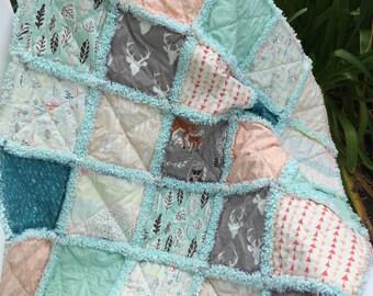 Hello Bear Baby Rag Quilt Hello Bear Quilt Lap Quilt Mint Green