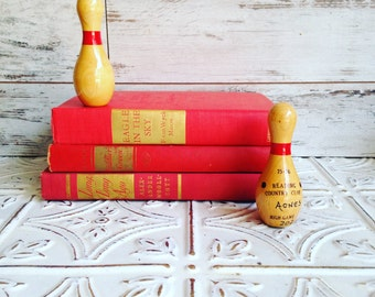Red & Gold books by Color Bundle vintage Decorative Books Instant Library Collection Photography Props burgundy
