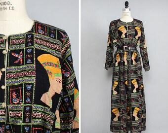 Nefertiti Dress S/M • 60s Maxi Dress • Cotton Caftan • Cotton Summer Dress • Egyptian Dress • Long Sleeve Dress • Ethnic Dress | D904