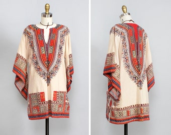 70s Boho Dress • Dashiki Tunic Dress • Angel Sleeve Dress with Pockets • Ethnic Dress • Boho Mini Dress • Cotton Summer Dress  | T498
