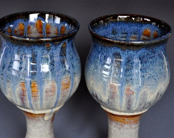 His and Her Goblets Pair of Pottery Goblets Blue Ceramic Wine Goblet Stoneware Chalice