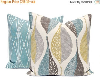 SALE Decorative Pillow Covers - Sofa Pillow Covers - Throw Pillow Covers - Leaf and Diamonds - Ivory Background - Aqua Pillows - Pair of Two