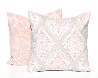 Decorative Pillow Covers - Tan and Coral Pillow Covers - Sofa Pillow Covers - Pair of Two - Throw Pillow Covers - Peach Pillow