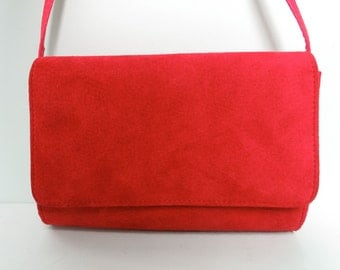 Vintage Red Suede Purse/Red Suede Bag/Red Shoulder Strap Purse/Red Suede Cross Body Bag/Red Cross Body Purse/Comeco