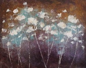 Abstract Painting Abstract Flowers garden painting Purple ochre blue  To Remember (2)   24 x 30    Swalla Studio