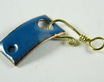 Small Blue Enameled Bar Clasp with Brass Wire Hook