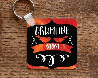 Drumline Mom -  Metal Keychain for Percussion Moms