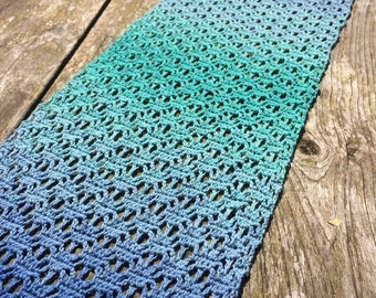 Crocheted summer shawl turquoise blue mint