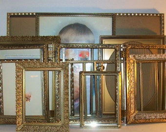 20 Vintage Gold Metal Picture Frames Shabby Chic Wedding Decor