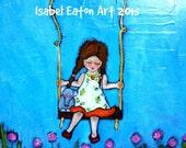 Girl on Swing 18x24 canvas acrylic painting illustration