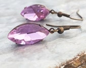 Marquis Rhinestone Drop Earrings, Lavender, Purple, Vintage Crystal, jewelry by RewElliott on Etsy