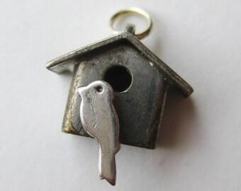 Vintage Charm Sterling Silver Bird in Birdhouse Miniature Bracelet Charm