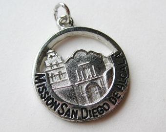 Vintage Charm Sterling Silver Mission San Diego de Alcala California Souvenir Bracelet Charm