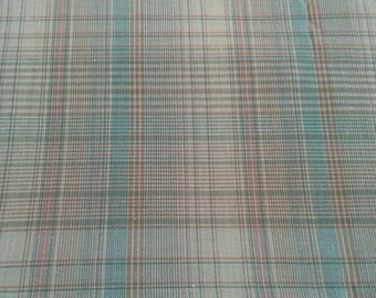 Tan and Green Plaid Light Weight Cotton Polyester Blend 1 1/4 Yards X0620