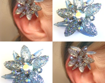 One of a Kind Swarovski Crystal No Pierce Earring - Floral Crystal Ear Cuff - Blue Crystal Ear Wrap