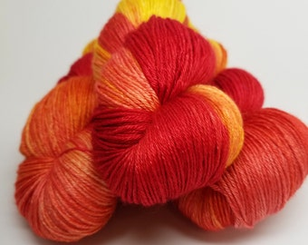 Blaze!  Blazing Orange, Yellow, Red, ColorPurl Hand Dyed, Blissful BFL XL, BFL Silk Blend Sock Weight Yarn, 657 Yards, 150 grams