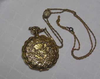 Goldette ornate perfume locket Napoleon slider necklace