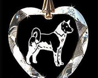 Akita Dog Jewelry Hand Etched  Austrian Crystal  Pendant - FREE Shipping US