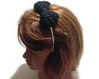Black Bow Headband, Bow Headband, Crochet Bow, Metal Headband, Kawaii Bow Headband, Cosplay Bow, Black Hair Bow, Black Bow Hair Accessory