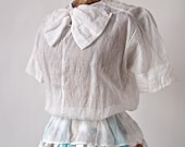 Reserved--Vintage 30's White Blouse Sweet Czech Sheer Organdy Cotton 1930's Big Bow