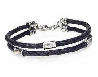 BLACK Leather Bracelet, Braided Leather and Silver Beads, Custom Men's Leather Bracelet, Women's Bracelet, Leather Jewelry, Woven Braid, USA