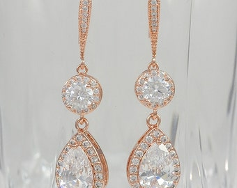 Rose Gold, Bridal Cubic Zirconia Crystal Earrings, Ear Wires, Teardrops, Silver Tone, Rose Gold Tone, Megan - Will Ship in 1-3 Business Days