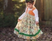 Girls Reverse Knot Dress Clementine Collection Toddler Infant Girls Orange Green
