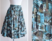 1950s 60s Cubist style printed cotton day skirt in blue / brown - 50s novelty print