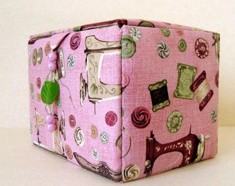 fabric covered sewing storage box, craft box, sewing basket