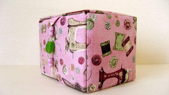 Fabric covered sewing storage box craft box sewing basket for Fabric covered boxes craft