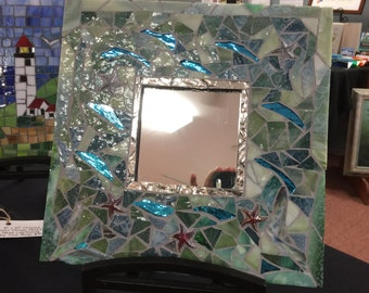 Muted Green Stained Glass Mosaic Mirror with Starfish