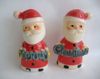 Santa Merry Christmas Salt and Pepper Shakers by Brinnco