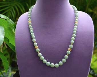 "MING'S Honolulu JADEITE (61) 7-10 mm Beads Graduated Necklace 14k Gold 24"" long"