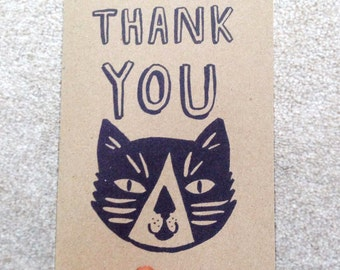 Thank you tuxedo cat kraft greetings card - brown + black fun typography for cat lover