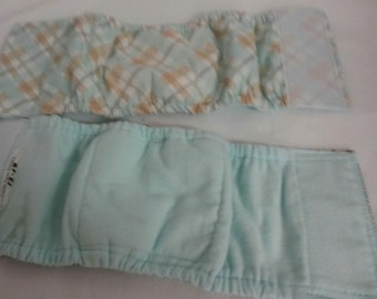 2 Male Doggie Diaper Padded Belly Band Elastic Sides Ready-Made USA Handmade Size 12-13 Inches