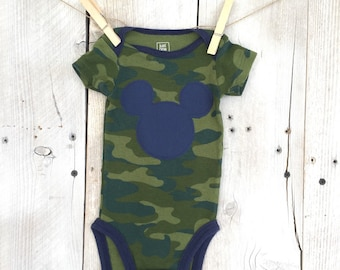 Newborn Camouflage Bodysuit with Mickey Mouse Inspired Iron On