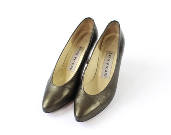VINTAGE Shoes Pewter Heels Metallic Leather Pumps 1980s Size 6