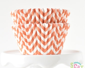 Chevron Orange BakeBright GREASEPROOF Baking Cups Cupcake Liners | ~30 count