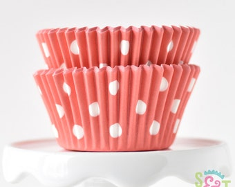 Dot Coral BakeBright GREASEPROOF Baking Cups Cupcake Liners | ~30 count
