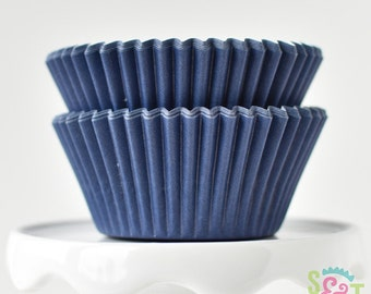 Solid Navy GREASEPROOF Cupcake Liners BakeBright Baking Cups | ~30 count