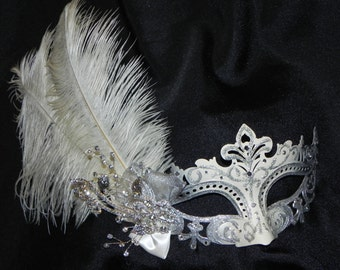 Ivory and Silver Capri Feather Mask - Made to Order