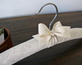 Brides Hanger, Padded Wedding Hanger, Quilted Wedding Hanger, Quilted Ivory Hanger, Organic Ribbon, Quilted Wedding Hanger, Ecru Hanger