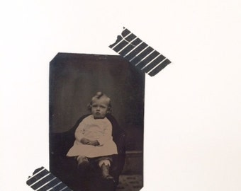 Antique Vintage Tin Type Photo Little Girl With Curls