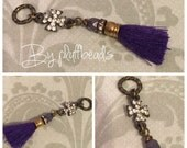 New CHARM dangle drop wire wrapped Royal purple french cotton tassel rhinestone encrusted mini cross connector